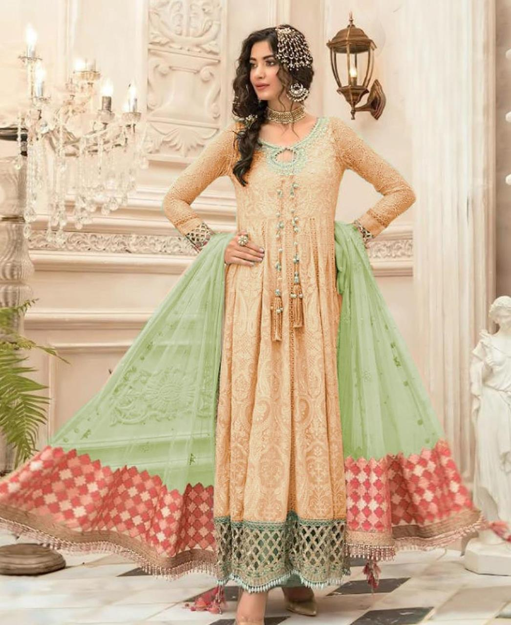 Embroidered Georgette Abaya Style Salwar in Cream