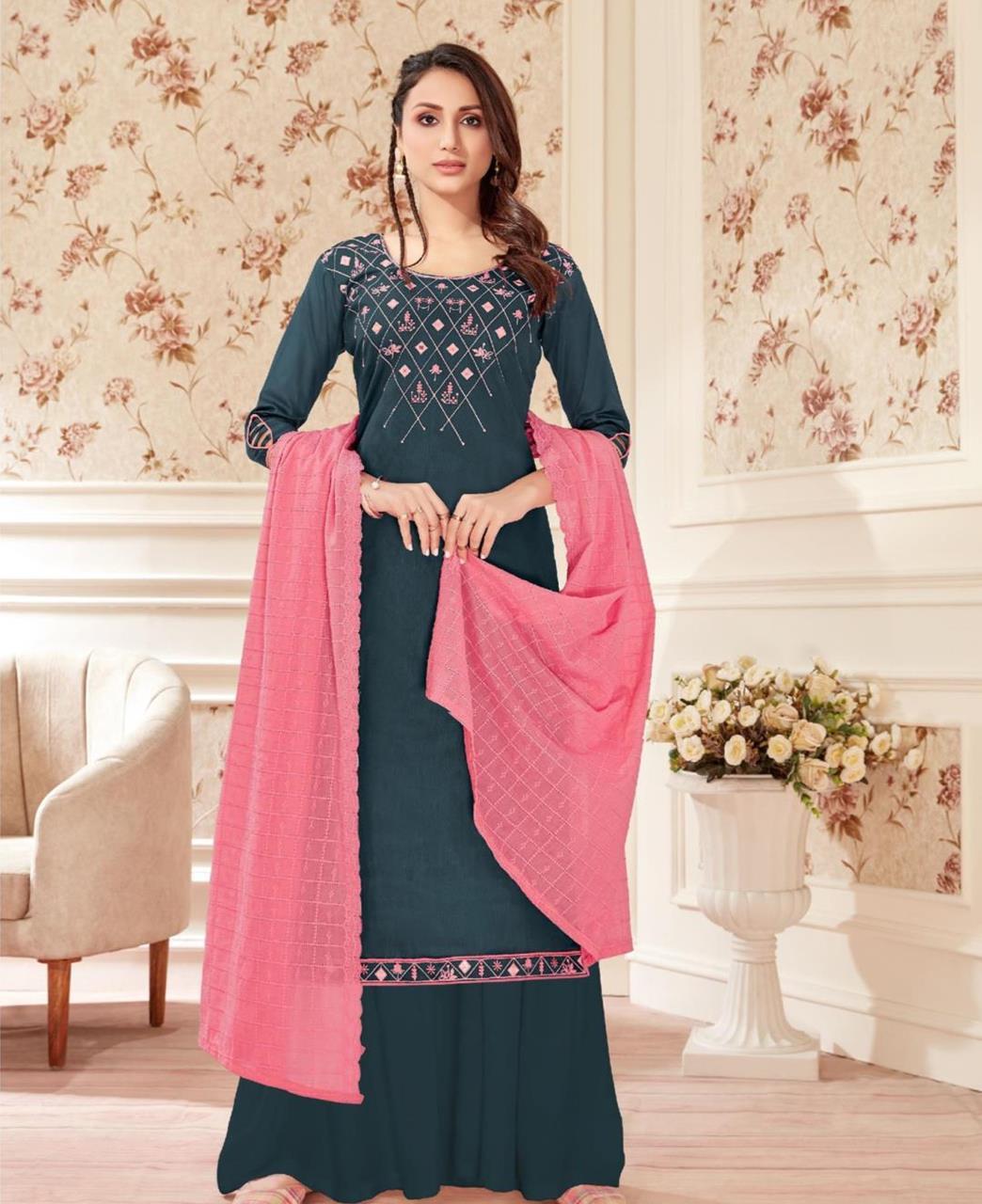 Embroidered Cotton Straight cut Salwar Kameez in Black