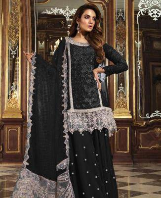 Embroidered Net Black Palazzo Suit Salwar