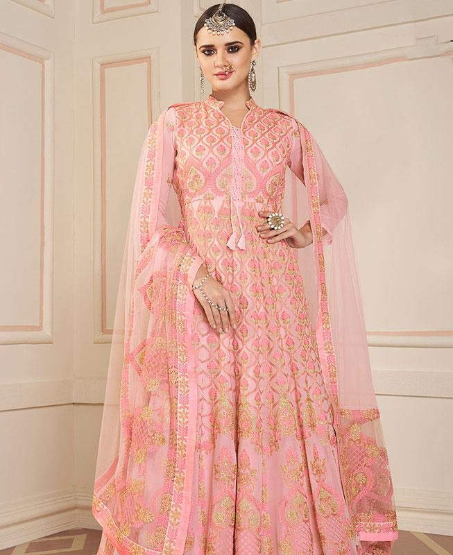 Embroidered Faux Georgette LIGHTPINK Anarkali Salwar