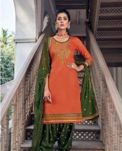 Stone Work Silk Patiyala Suit Salwar in Orange