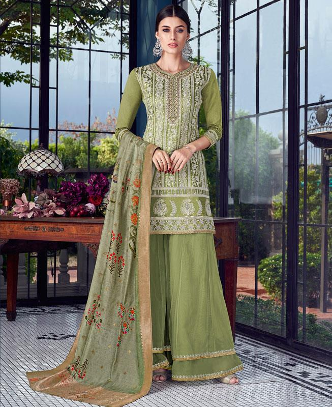 Embroidered Silk Green Palazzo Suit Salwar Kameez