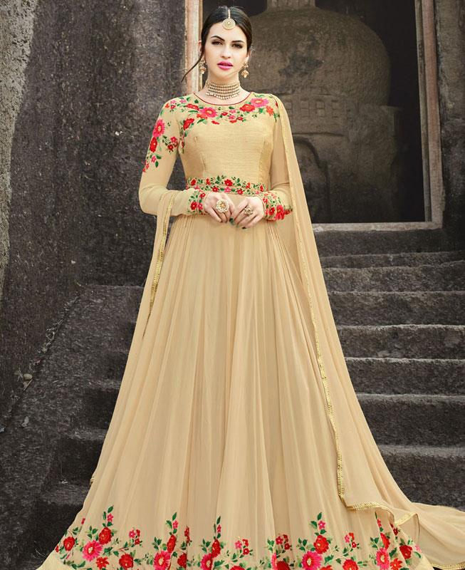 Embroidered Georgette Beige Abaya Style Salwar