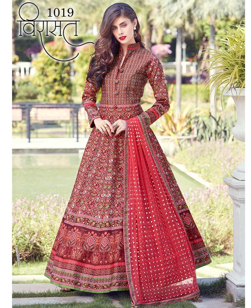 Printed Silk Red Abaya Salwar