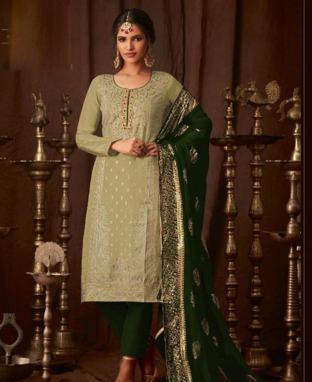Georgette Straight cut Salwar Kameez in Mehendi  ,  Green