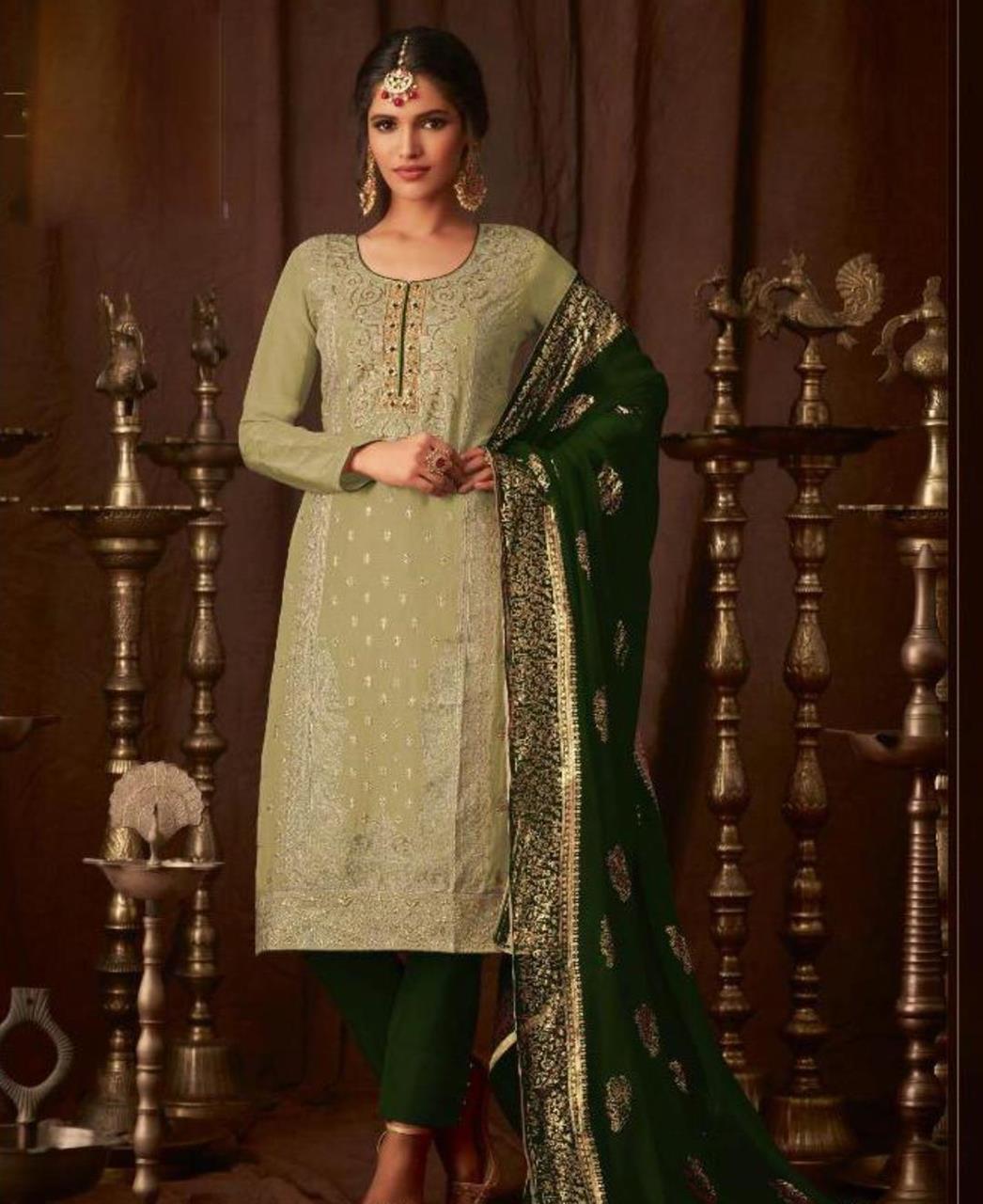 Georgette Straight cut Salwar Kameez in Mehendi  ,  Green