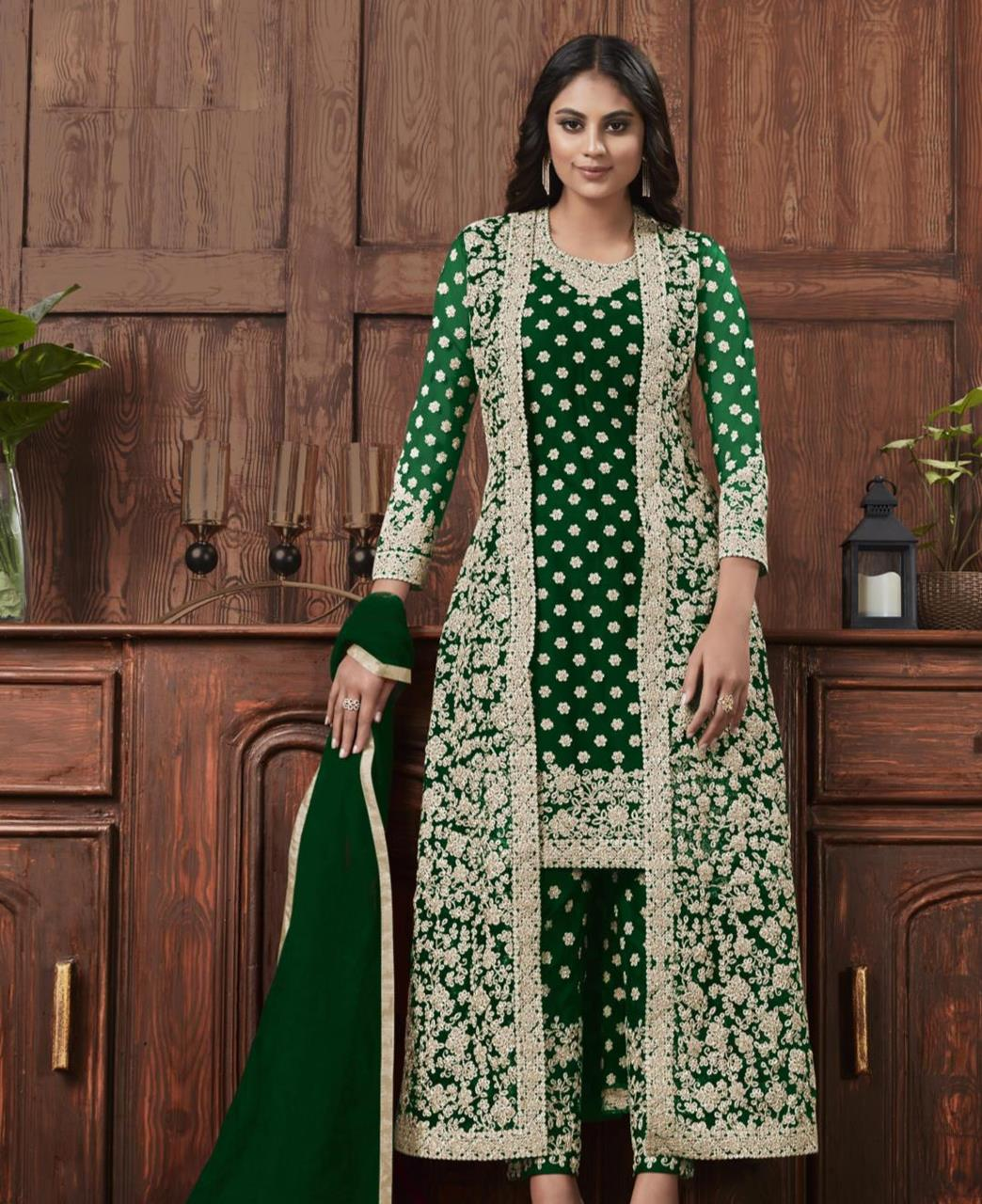 Satin Straight cut Salwar Kameez in Green