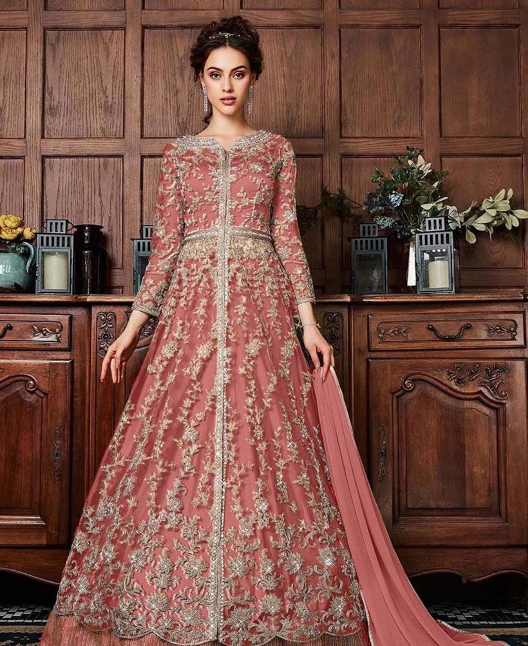 Net Abaya Style Salwar in Lightpink
