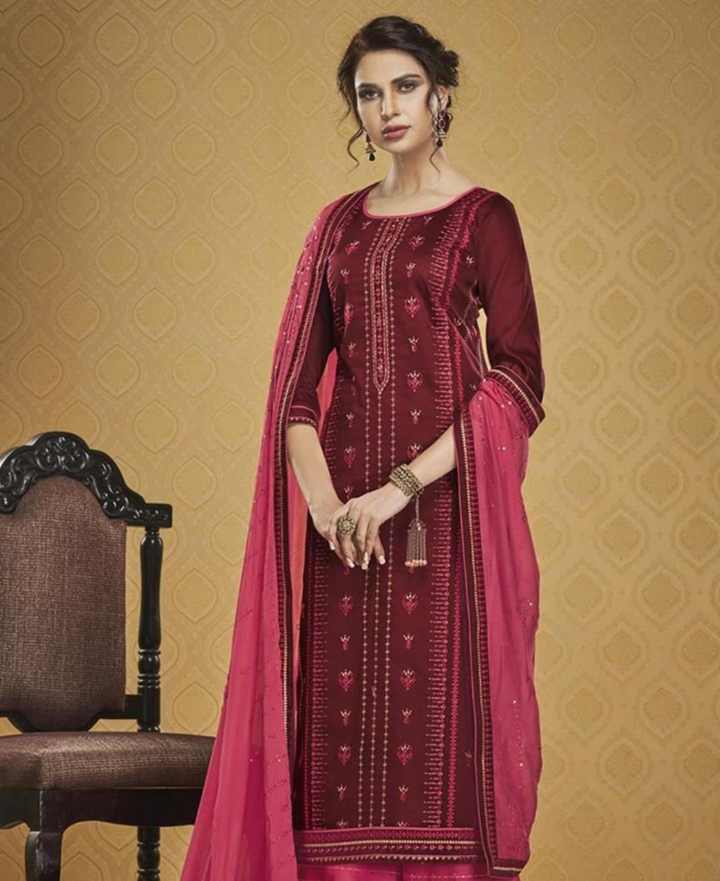 HandWorked Silk Straight cut Salwar Kameez in Maroon