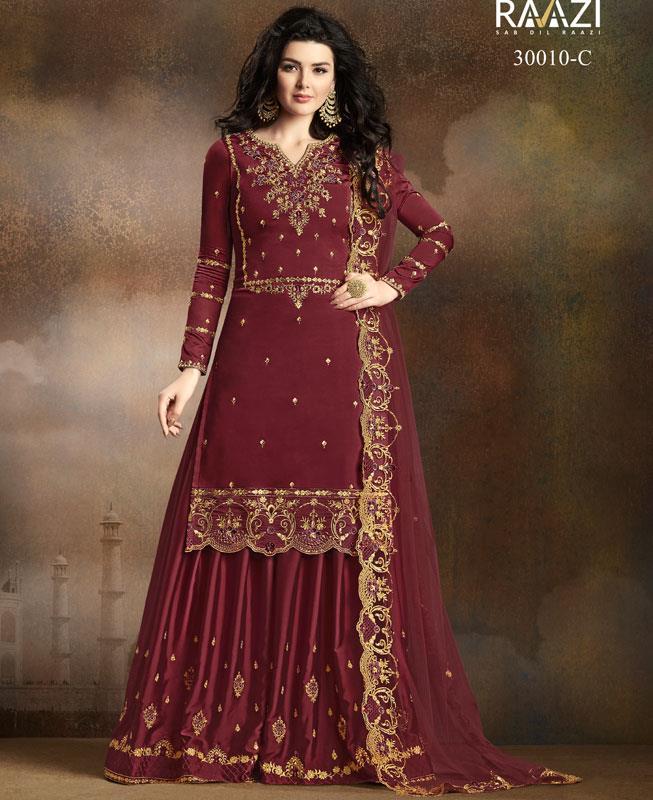 Embroidered Georgette Maroon Palazzo Suit Salwar Kameez