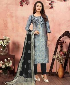 Jacquard Straight cut Salwar Kameez in Grey