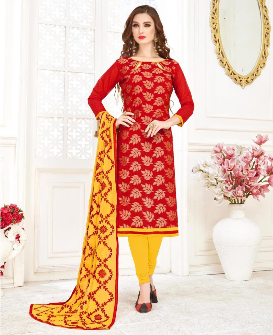 Embroidered Banarasi Silk Red Straight Cut Salwar