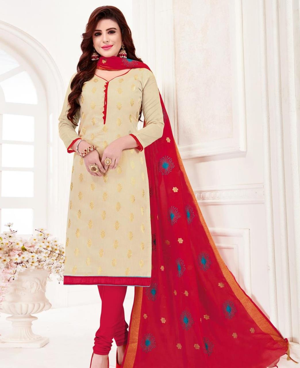 Embroidered Banarasi Silk Cream Straight Cut Salwar
