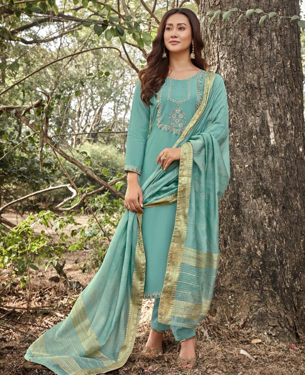 Zari Cotton Straight cut Salwar Kameez in Sky Blue