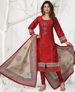 HandWorked Cotton Straight cut Salwar Kameez in Red