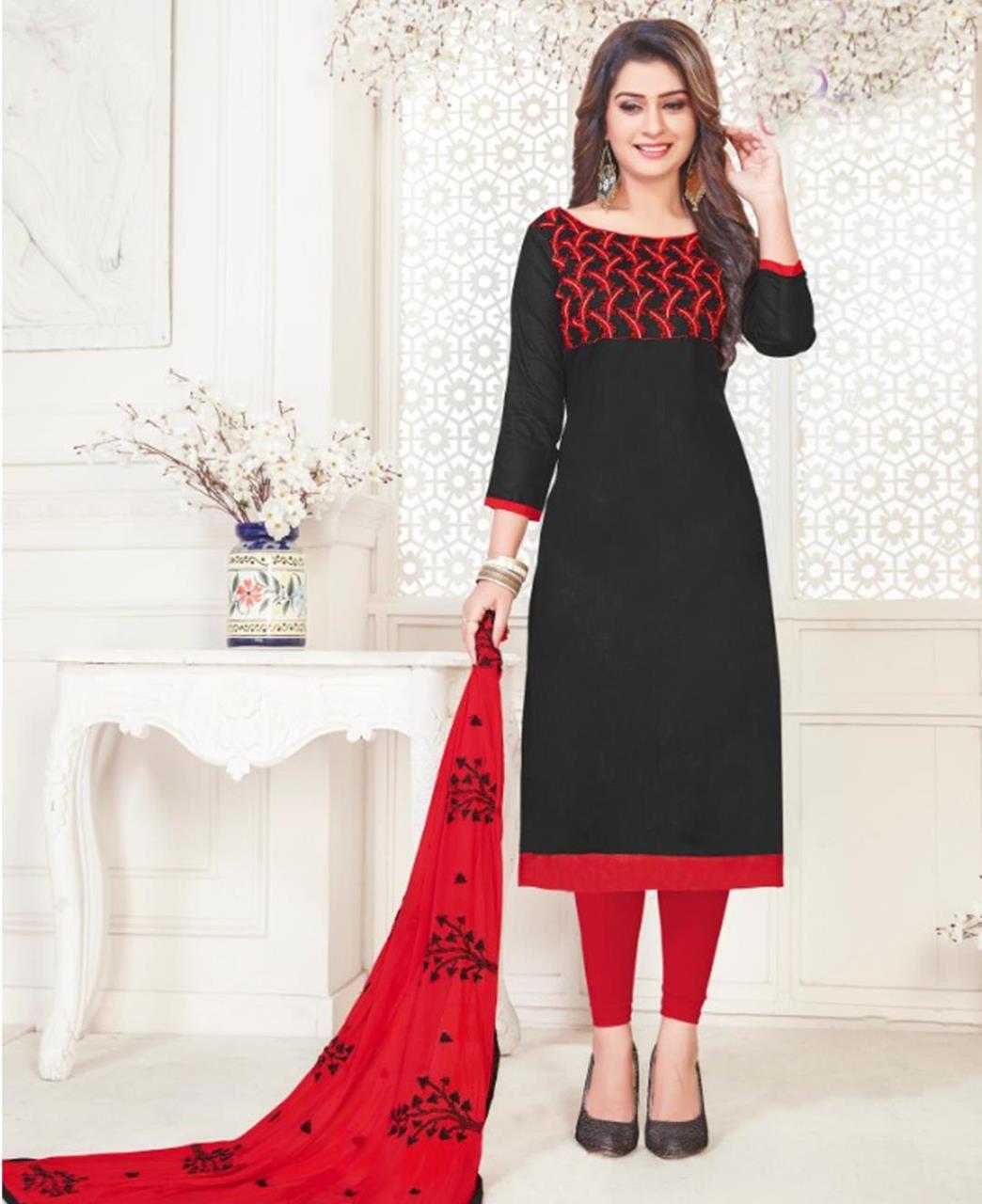Embroidered Cotton Satin Black Straight Cut Salwar Kameez