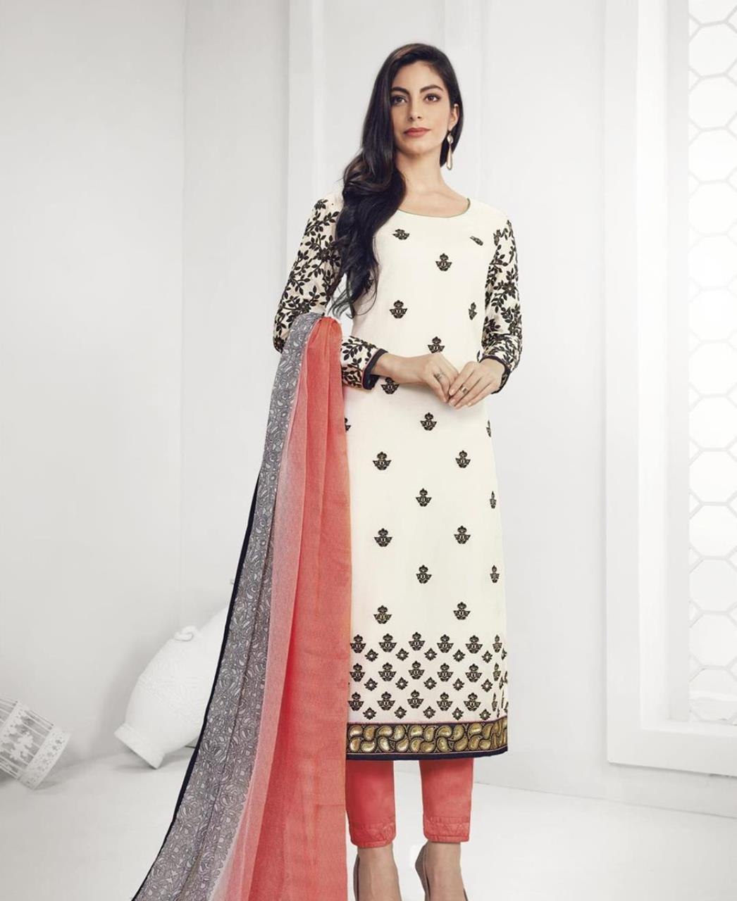 Stone Work Georgette Straight cut Salwar Kameez in White