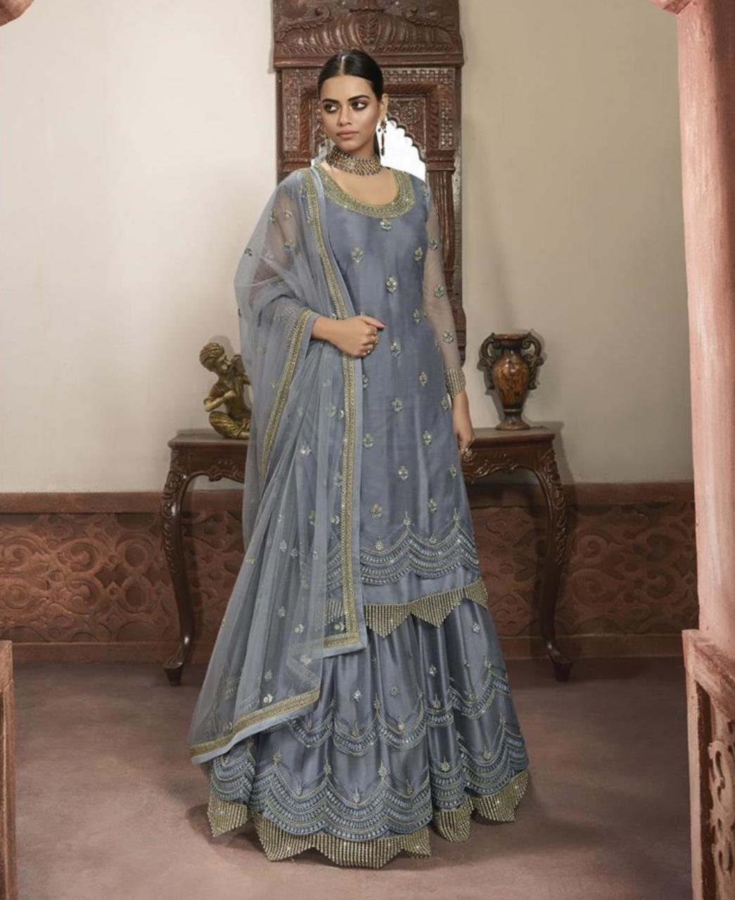 Embroidered Net Straight cut Salwar Kameez in Grey