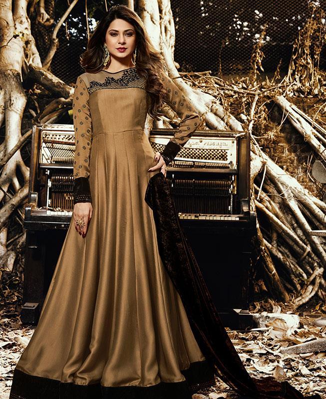 Embroidered Georgette Gold Straight Cut Salwar Kameez
