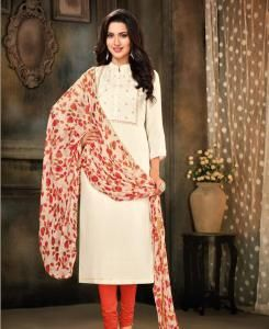 HandWorked Cotton Straight cut Salwar Kameez in White