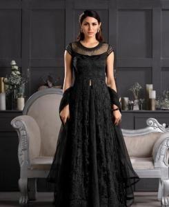 Thread Satin Abaya Style Salwar in Black
