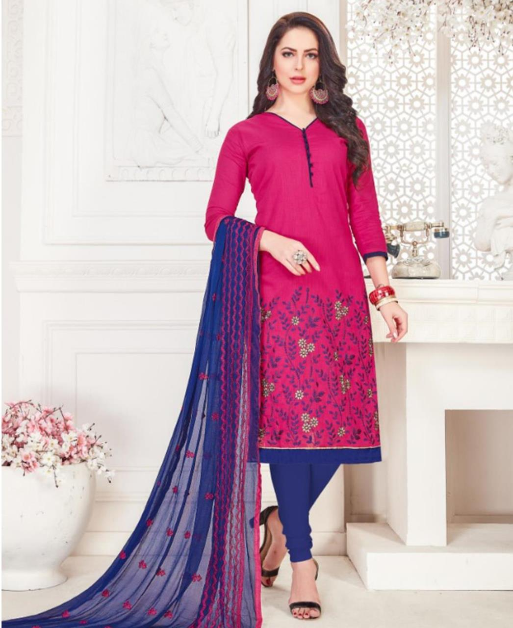 Embroidered Cotton Magenta Straight Cut Salwar Kameez
