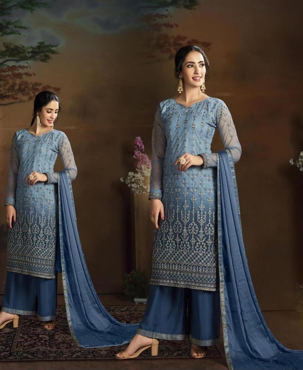 Stone Work Silk Straight cut Salwar Kameez in Blue