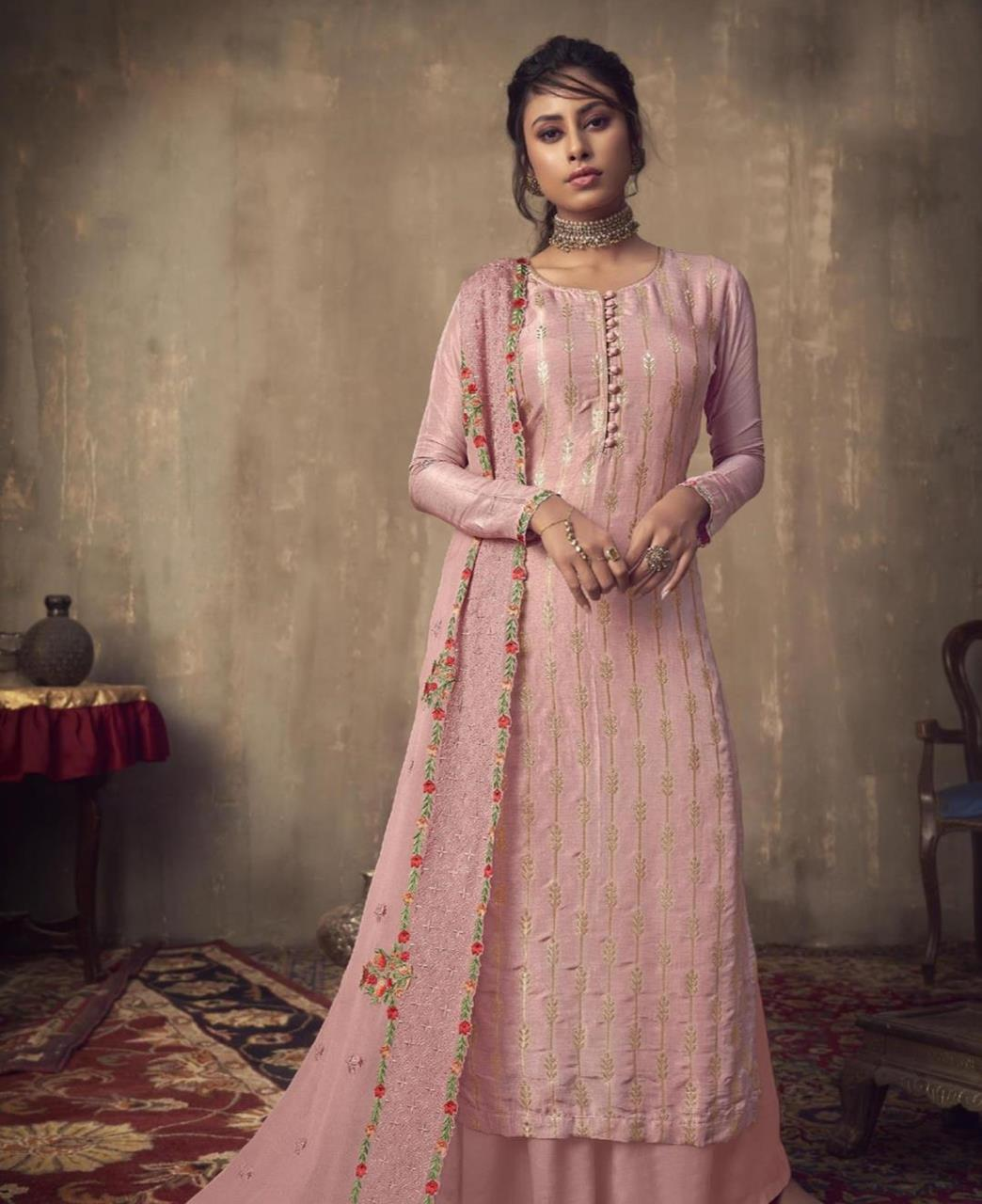 Stone Work Jacquard Straight cut Salwar Kameez in Baby Pink