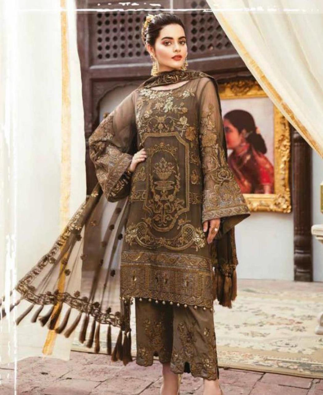 Embroidered Georgette Straight cut Salwar Kameez in Dark Beige