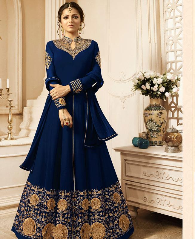 Embroidered Georgette Blue Abaya Style Salwar