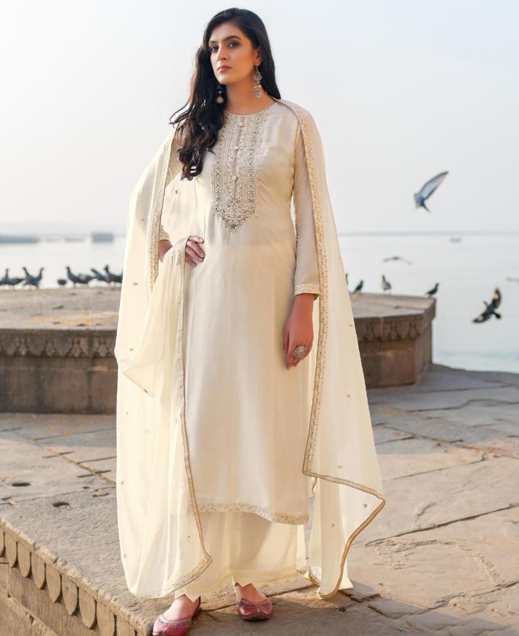 HandWorked Cotton Straight cut Salwar Kameez in Off White
