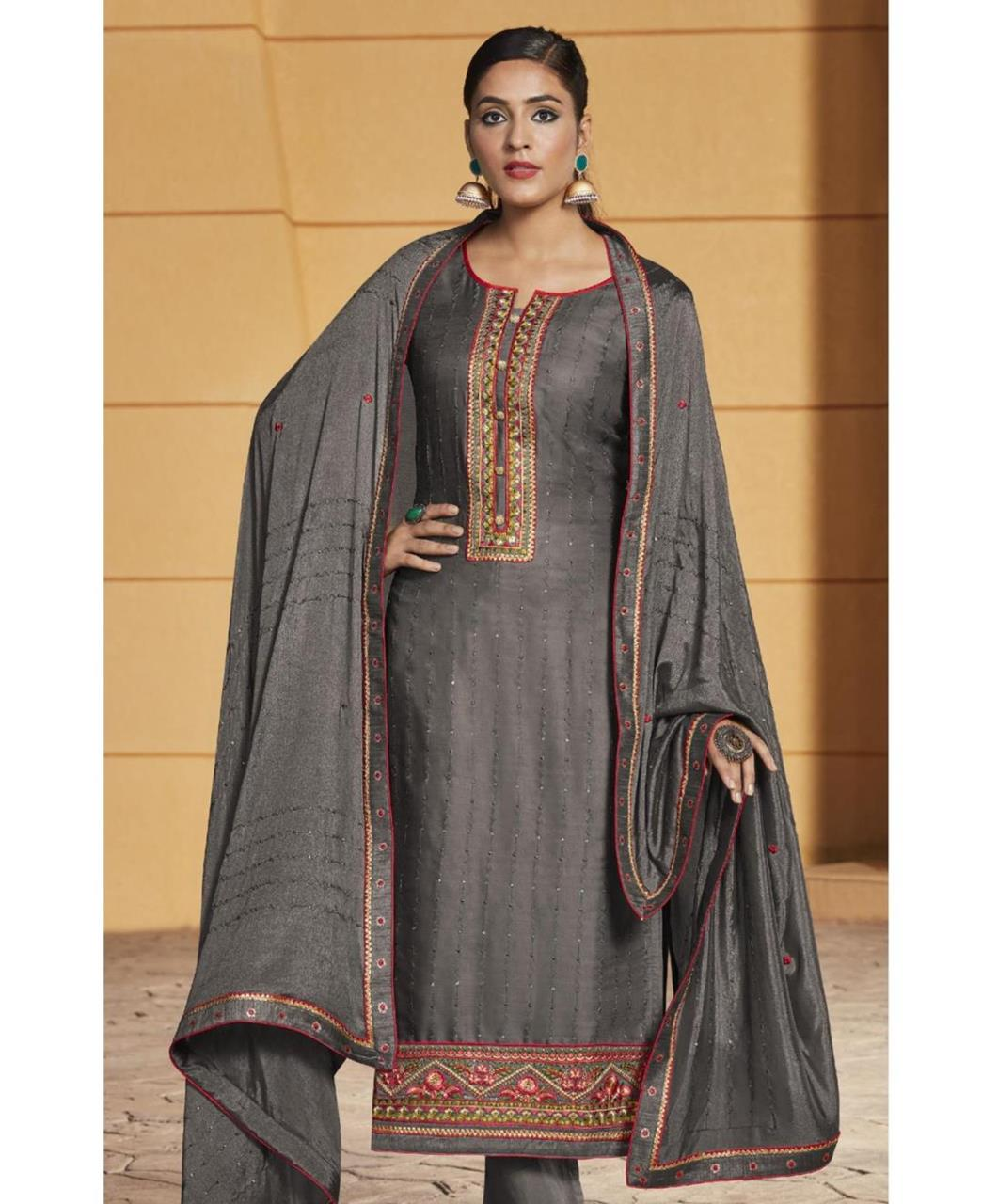 Stone Work Satin Straight cut Salwar Kameez in Grey