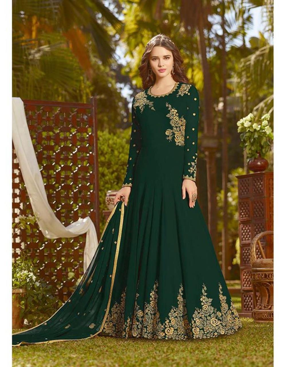 Embroidered Georgette Green Anarkali Salwar