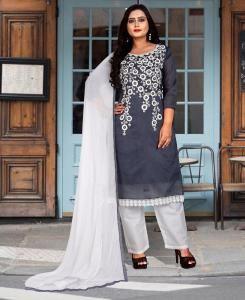 HandWorked Cotton Straight cut Salwar Kameez in Gray