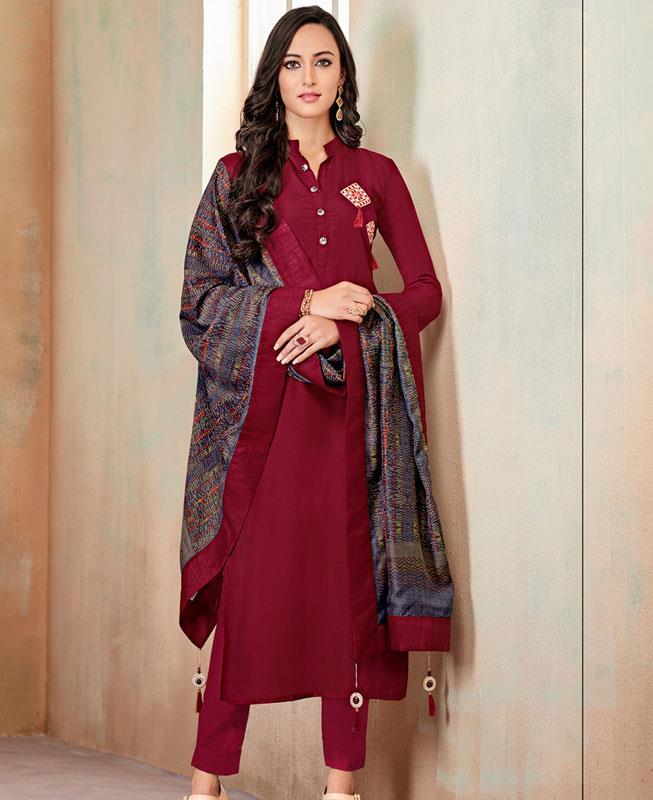 Butta Work Cotton Maroon Straight Cut Salwar