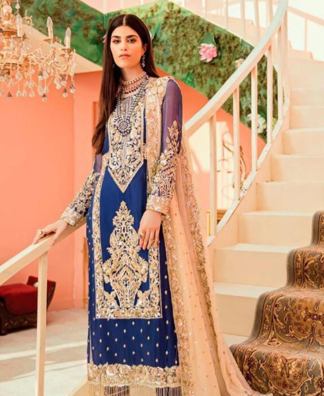 Thread Georgette Straight cut Salwar Kameez in Blue