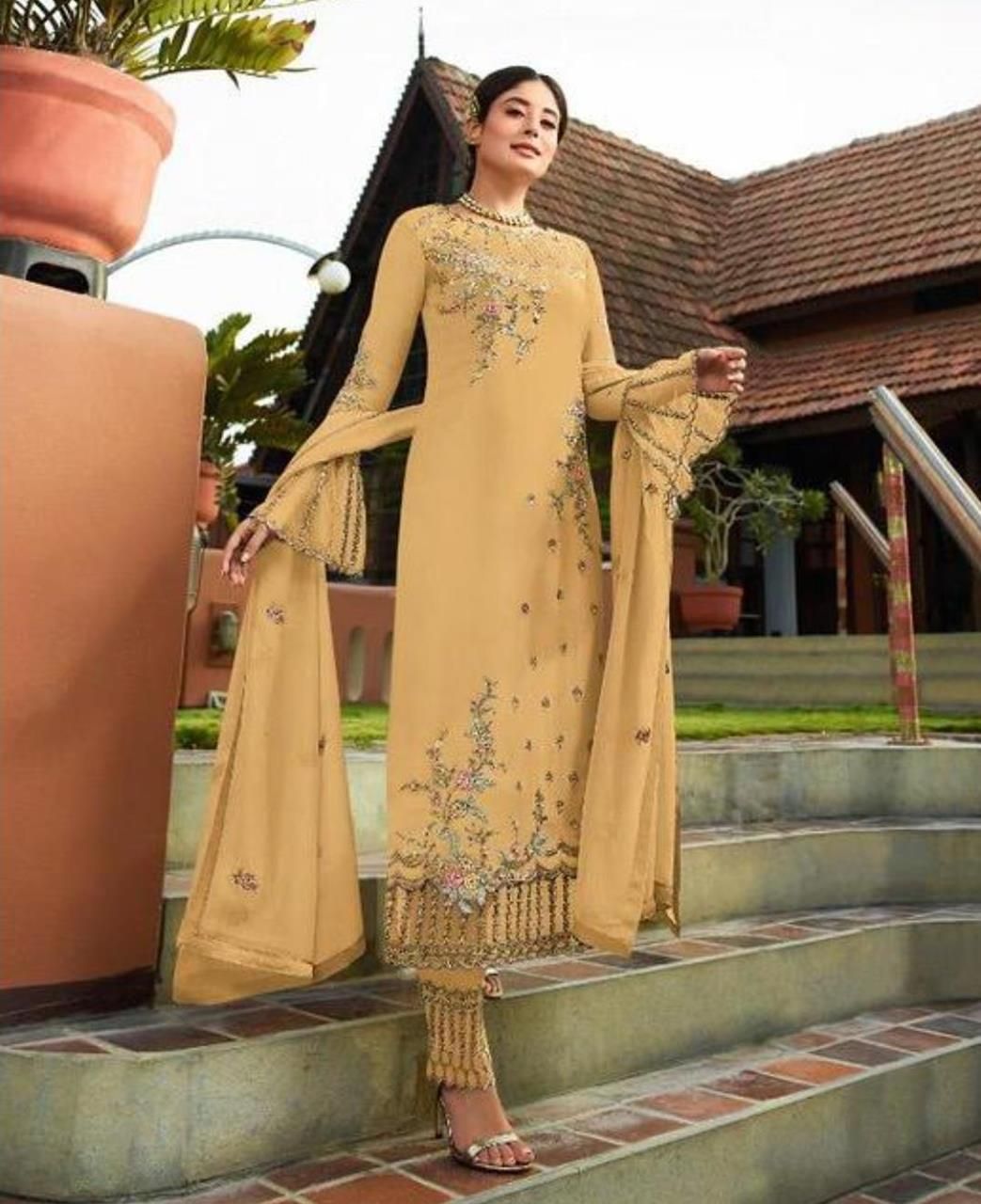 Georgette Straight cut Salwar Kameez in Mustard