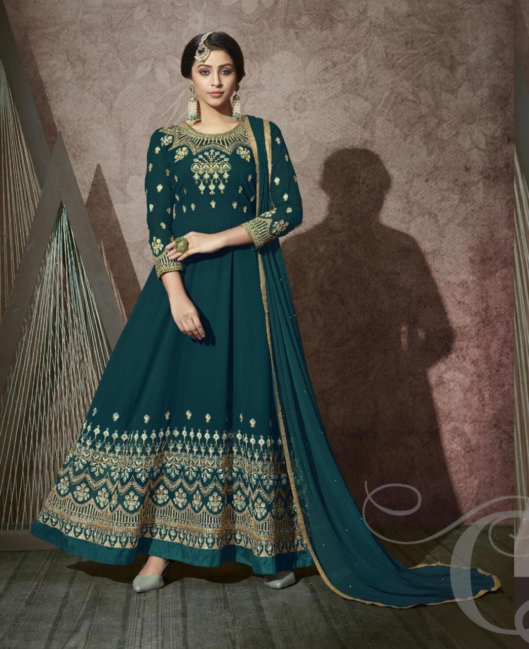 Stone Work Georgette Abaya Style Salwar in Teal Blue