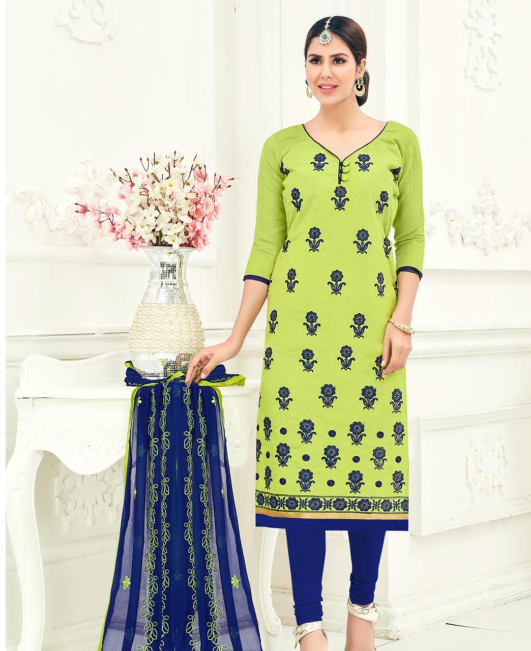 Embroidered Chanderi Green Straight Cut Salwar Kameez