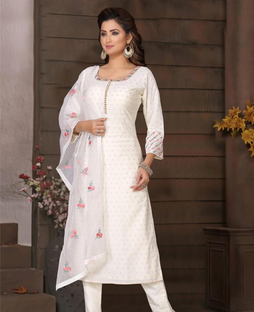 Embroidered Brocade White Straight Cut Salwar