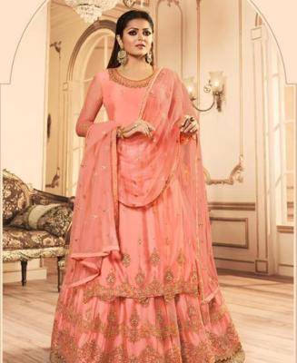 Embroidered Net Pink Palazzo Suit Salwar