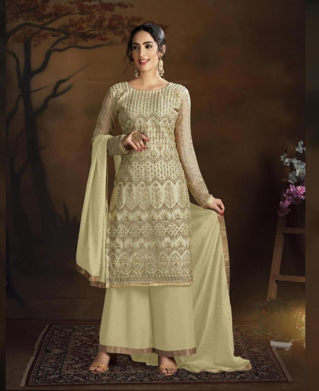 Stone Work Silk Straight cut Salwar Kameez in Cream