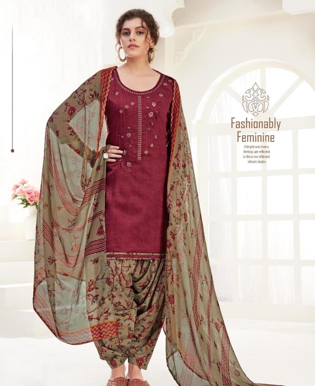Thread Cotton Patiyala Suit Salwar in Maroon