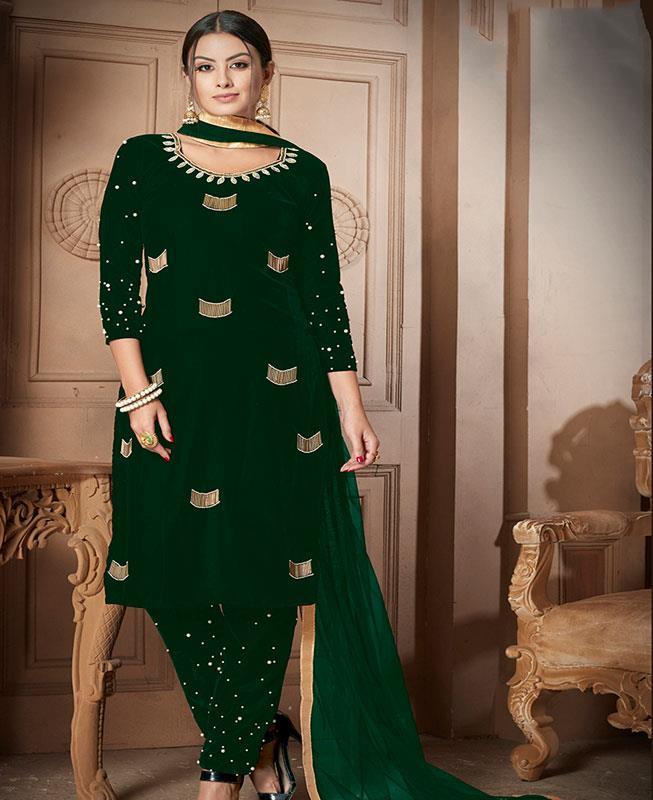 Moti Velvet Green Straight Cut Salwar