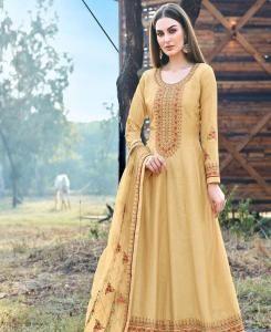 Stone Work Silk Abaya Style Salwar in Golden