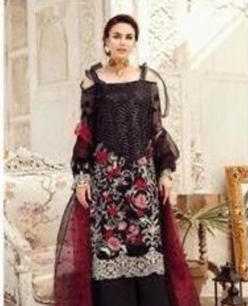 Zari Georgette Straight cut Salwar Kameez in Black