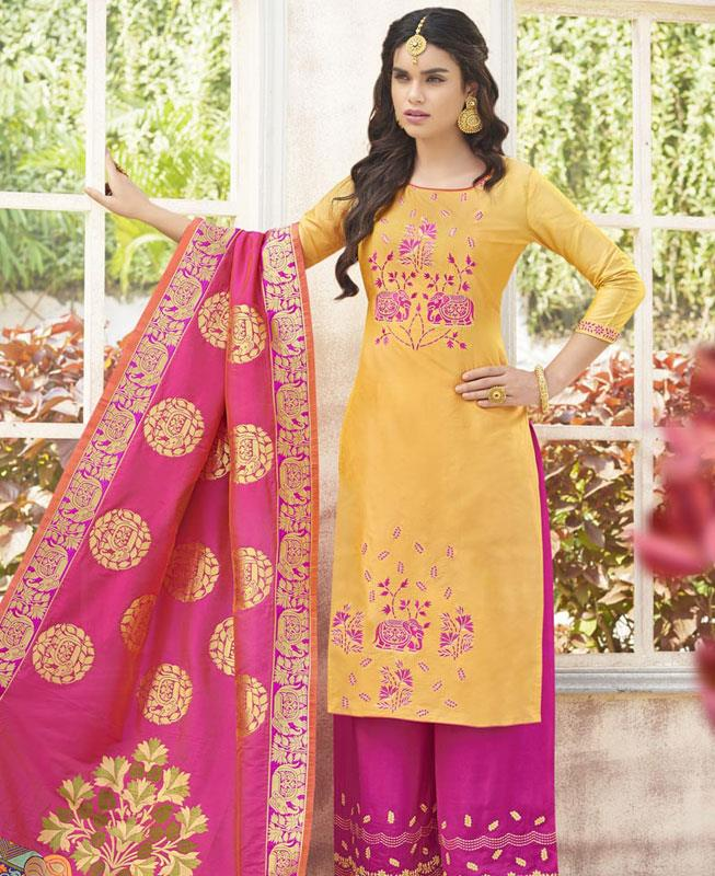 Embroidered Cotton Yellow Palazzo Suit Salwar