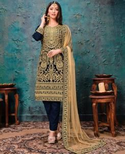 Georgette Straight cut Salwar Kameez in Blue