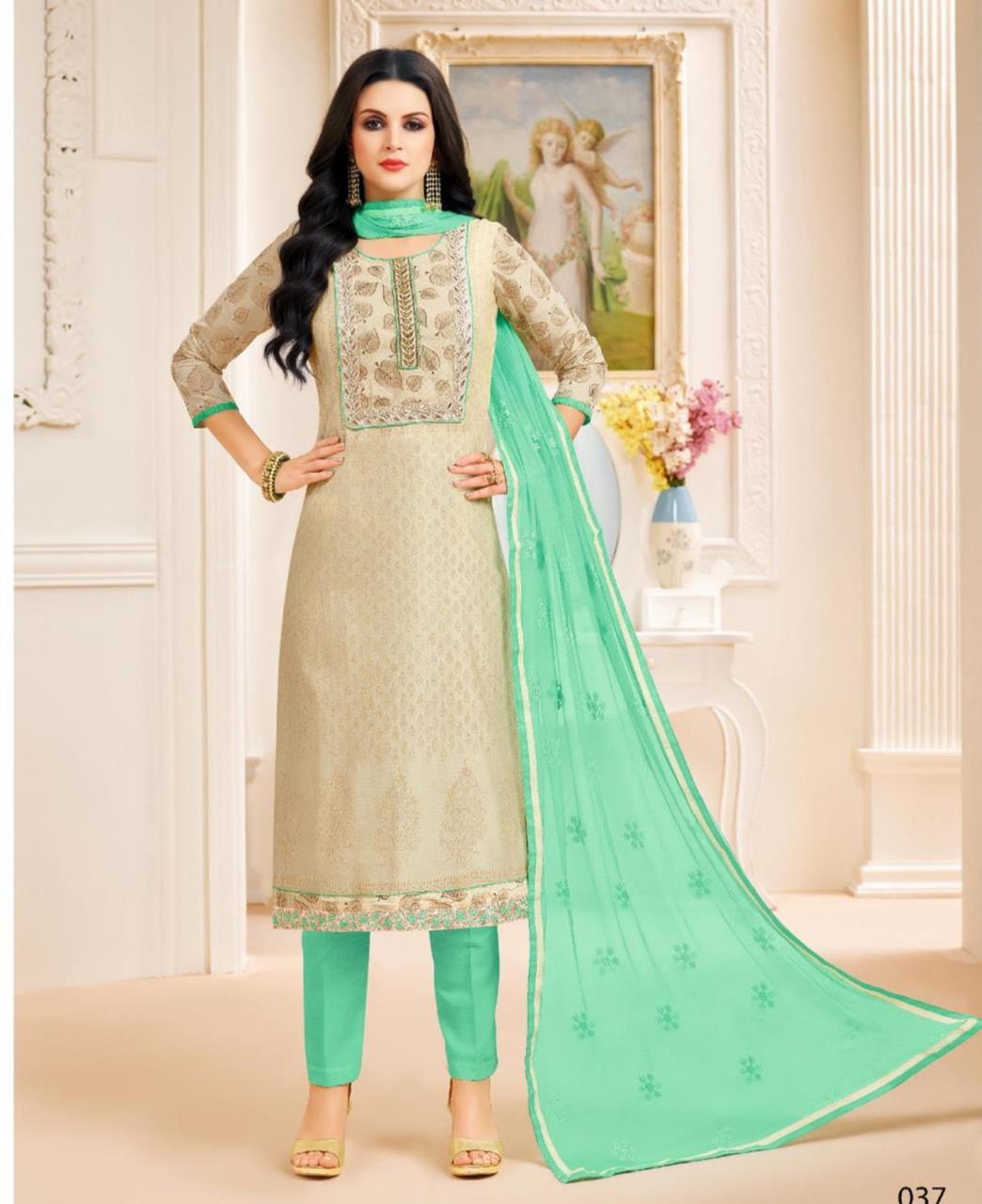 Printed Chanderi Silk Cream Palazzo Suit Salwar Kameez