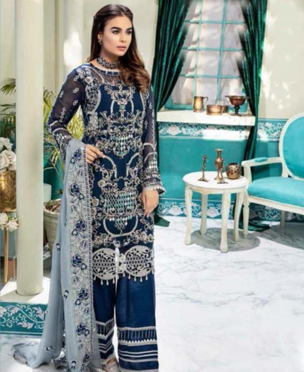 Embroidered Georgette Straight cut Salwar Kameez in Navy Blue